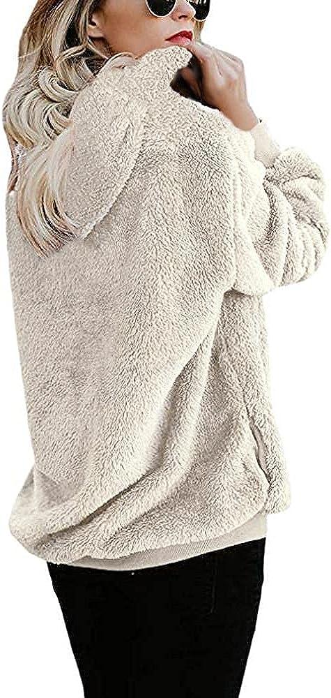 lucyouth Hoodies for Women Oversized Fuzzy Fleece Long Sleeve Pullover Sherpa Sweatshirt Pocket Winter Outwear Sweater