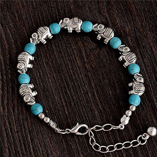 5starwarehouse® Armband mit türkisfarbenen Perlen, Elefant, Boho Schmuck, Gypsy Bohemian Ethnic A114