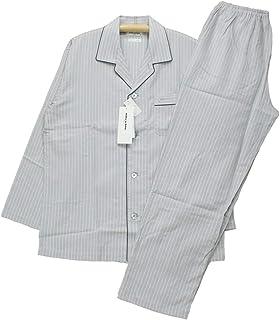 [Lサイズ] メンズパジャマ 春夏向き 長袖 長スボン ミラショーン 日本製 シルク混ジャガード 前開き