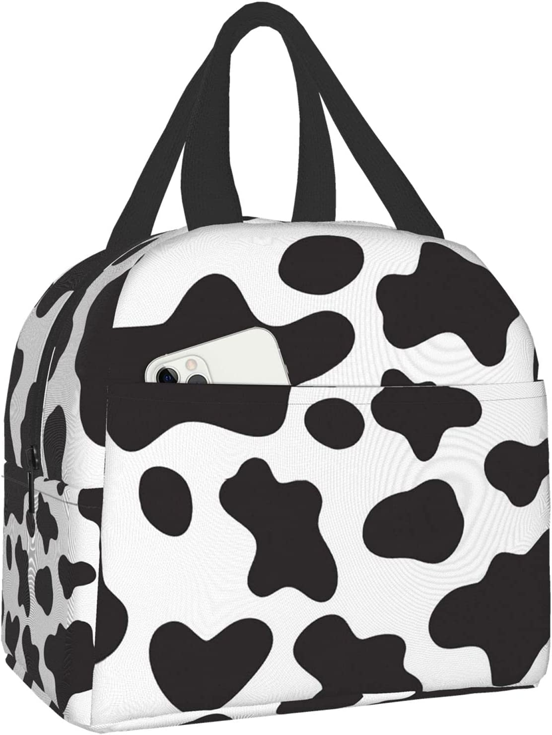 Gocerktr Cow Print Lunch Bag Reusable Lunch Box Waterproof Thermal Tote Bag Lunch Container Cute Cooler Bag for Women Men Work/Travel/Picnic