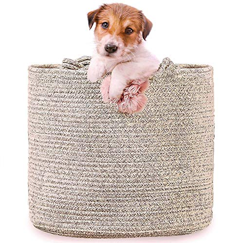 Cotton Rope Basket Large Size Soft and Safe for Kids, Babies, Puppies, Dog Toys Basket, Laundry Hamper Storage Organizer for Baby Clothes, Pillows and Blankets Living Room Nursery Woven Bin