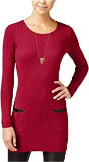 BCX Womens Faux-Leather Trim Knit Tunic Dress red XL