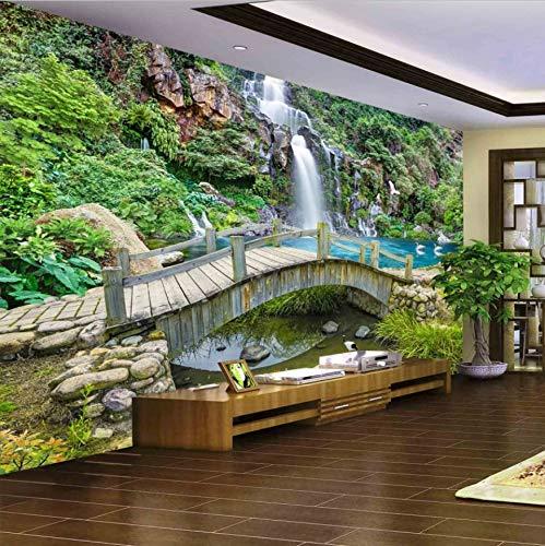 VVNASD 3D des Autocollants Décorations Fond D'Écran Peintures Murales Mur Petit Pont Eau Courante Cascade Nature Paysage Fond Décor À La Maison Art Filles Chambre (W) 250X(H) 175Cm