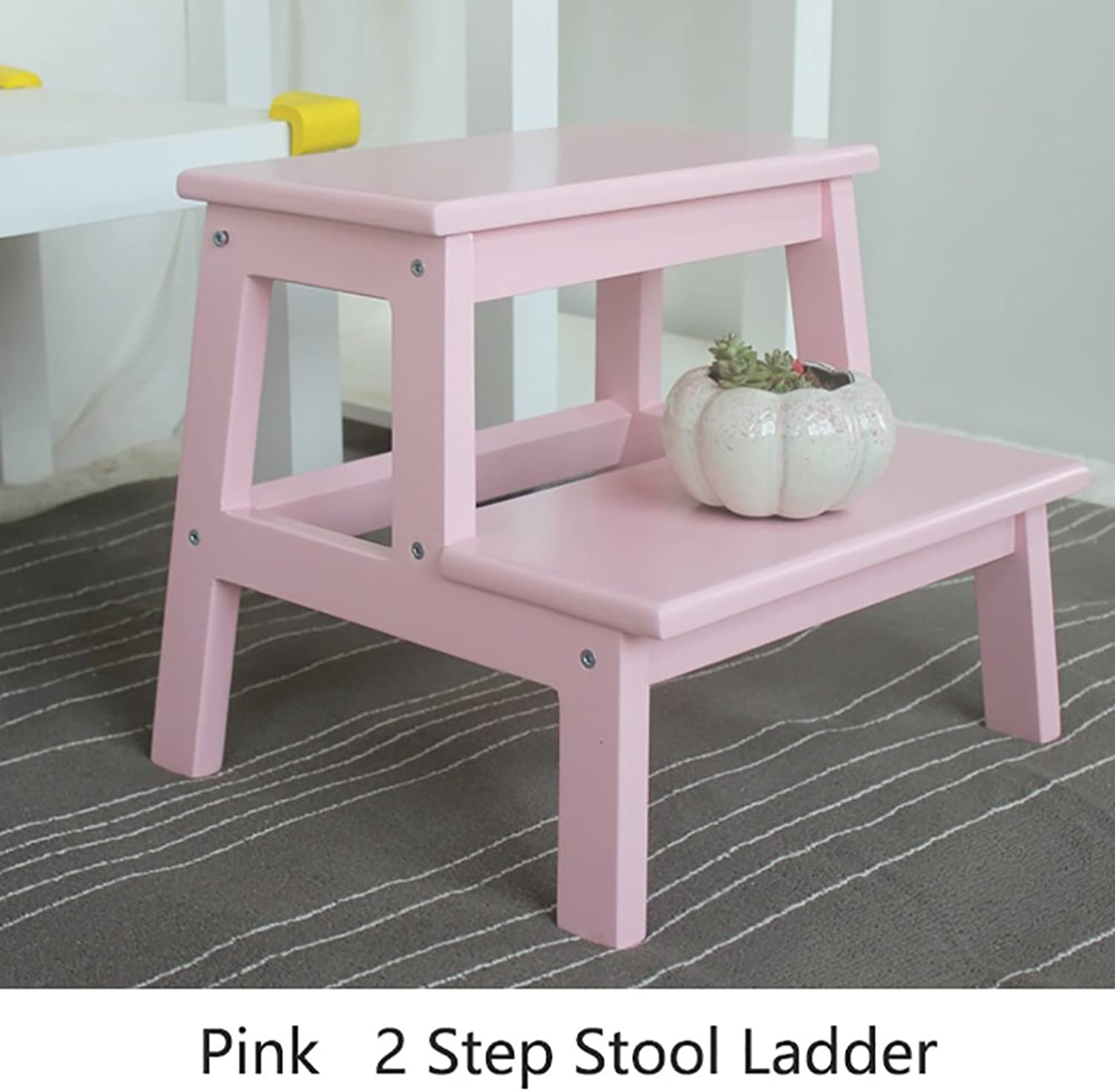 2 Step Stool Ladder for Kids Kitchen Wood Ladders Small Foot Stools Indoor Portable shoes Bench Flower Rack Storage Shelf (color   Pink, Size   39.5  35  35cm)