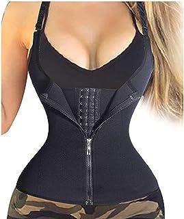 Dubocu Women's Zipper Sweat Sauna Body Shaper Slimming Vest Waist Trainer Tank Top Shirt