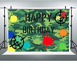Paintball Party Green Camo Splash Backdrop for Birthday, Paint Splatter Tags Army Camouflage Background for Men Teen Boys Photo Booth Props LYLU1292 9X6FT