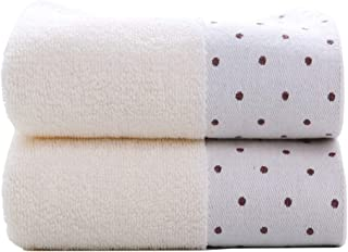 Tinymumu Hand Towel Set, 2-Pack, Polka Dot Pattern Cotton Soft Absorbent Towels for Bathroom, 13.4 x 29.5 Inch (Ivory)