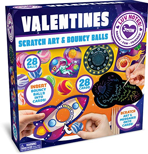 Why Choose JOYIN 28 Packs Valentines Day Gifts Cards for Kids with Scratch Magic Cards and Marble Bo...