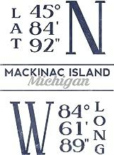 Mackinac Island, Michigan - Latitude and Longitude (Blue) (16x24 Giclee Gallery Print, Wall Decor Travel Poster)