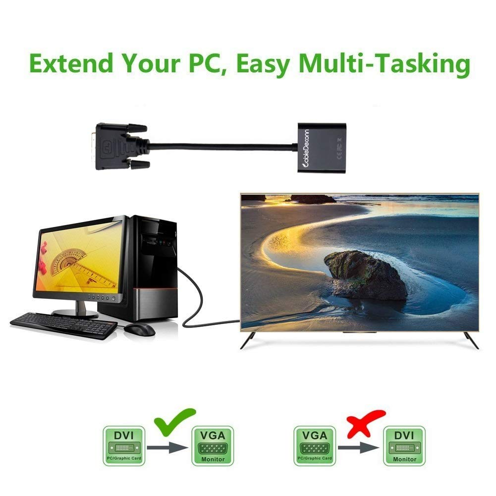 CableDeconn Activa DVI 24 + 1 DVI-D M a VGA macho con Micro USB adaptador activo Cable Convertidor para PC DVD Monitor HDTV: Amazon.es: Electrónica