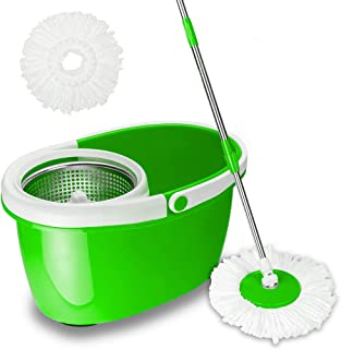 VALUEBOX 360° Spin Bucket System Mop with Extended Length Handle Stainless Steel Basket 2 Microfiber Mop Heads (Green)