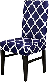 yuexianghui Classic GeoPrint Chair Cover Elastic Seat Chair Covers Slipcovers Washable Stretch Banquet Hotel Dining Room Living Room,Navy,Universal