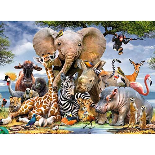 Coolzon Jigsaw Puzzle 1000 pièces, éducati Créatif Puzzles Jouets pour Adultes Enfants Amis, Jeu de Cartes psychédélique intellectuel ( Le Monde Animal)