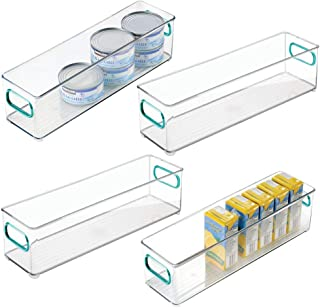 mDesign Plastic Stackable Food Storage Container Bin with Handles for Kitchen, Pantry, Cabinet, Fridge, Freezer - Long Narrow Organizer for Snacks, Produce, Vegetables, Pasta - 4 Pack - Clear/Blue