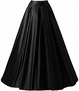 Women's Long Fashion High Waist A-Line Satin Skirts with Pockets