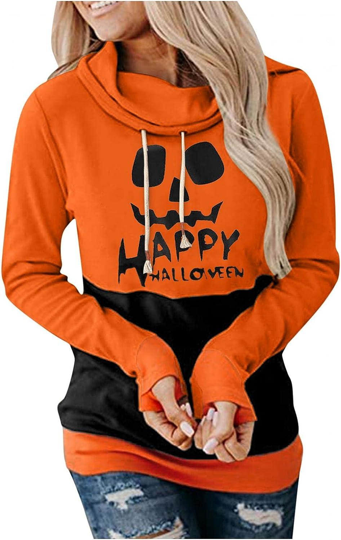 Women's Halloween Pumpkin Face Casual Hooded Sweatshirt Teen Girls Drawstring Pullover Hoodies Long Sleeve Tops
