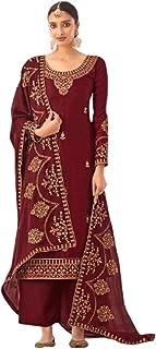 فستان هندي كستنائي عصري للسيدات مستوحى من أجواء الاحتفالية من الحرير Tusser بتصميم فستان فاخر 6087