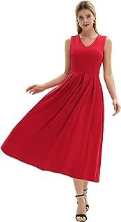 GRACE KARIN Women Sleeveless A-line Cocktail Long Dresses Pleated Swing Dress