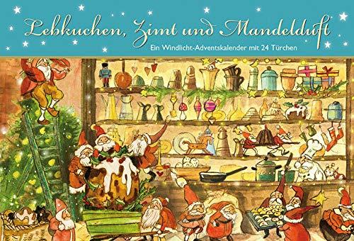 Lebkuchen, Zimt und Mandelduft: Ein Windlicht-Adventskalender mit 24 Türchen (Adventskalender für Erwachsene: Windlicht mit 24 Türchen)