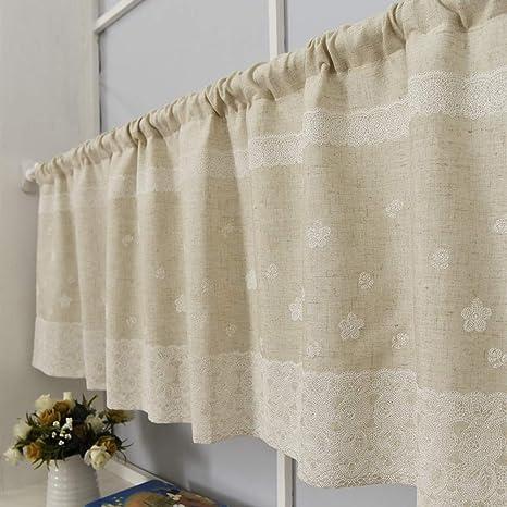 Amazon De Choicehot Country Style Crochet Kitchen Curtains Romantic Vintage Flowers Disc Curtain Cotton Linen Cafe Curtain Lace Printed Bistro Curtain 1 Piece H60 X B145cm