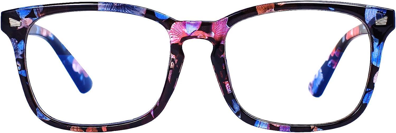 Maxjuli Blue Light Blocking Glasses,Computer Reading/Gaming/TV/Phones Glasses for Women Men(Flower Black)