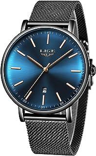 LIGE Montres Bracelets Hommes Bandeau en Maille d'acier Inoxydable Ultra Mince Étanche Cadran Bleu à Quartz Analogique Mon...