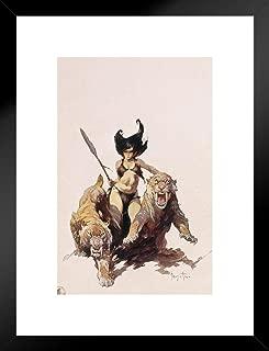 Poster Foundry The Huntress by Frank Frazetta Art Print Matted Framed Wall Art 20x26 inch