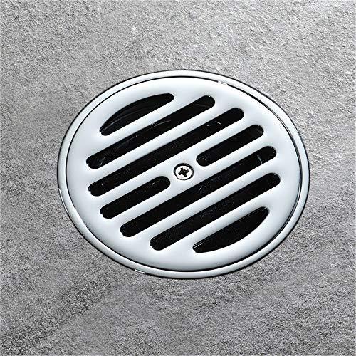 PIJN Bodenablauf Großer Fluss Badezimmer Bodenablauf Komplette Kupfer Gerade Reihe Runde (Color : Metallic, Size : 100x100x62mm)