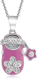 Pink Enamel Cubic Zirconia CZ Flower Engravable Shoe Charm Pendant Necklace For New Mother Women Sterling Silver
