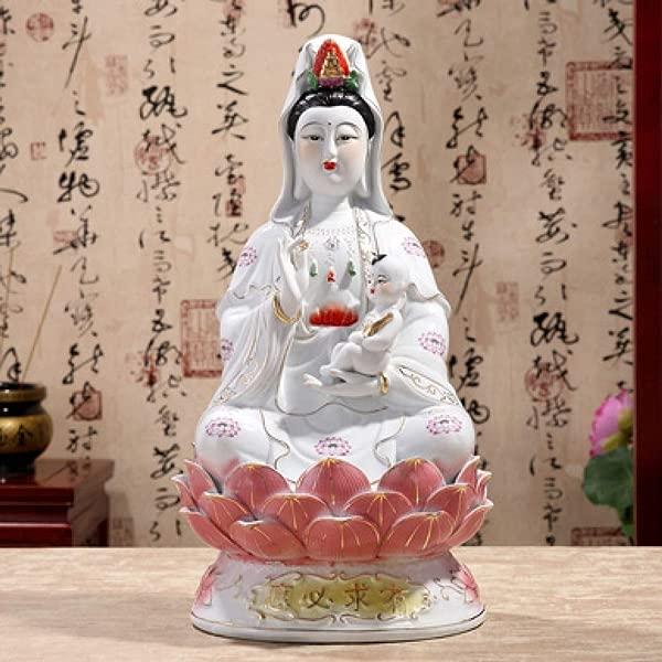 CAMLEO Buddha Statue Guanyin Sitting On Lotus Figurine Buddhism Bodhisattva Sculpture Home Office Decor