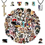 100Pcs Attack on Titan Stickers, Dual Wing Pendant Necklace, Eren Jaeger Key Pendant Necklace, Anime Vinyl Graffiti Stickers Notebook Skateboard Water Cup Luggage Waterproof Stickers