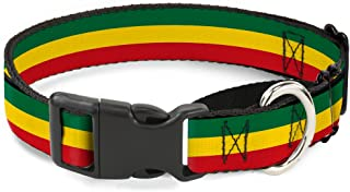 """Buckle Down Rasta Martingale Dog Collar 1"""" Wide - Fits 15-26"""" Neck - Large MGC-W21802-L"""