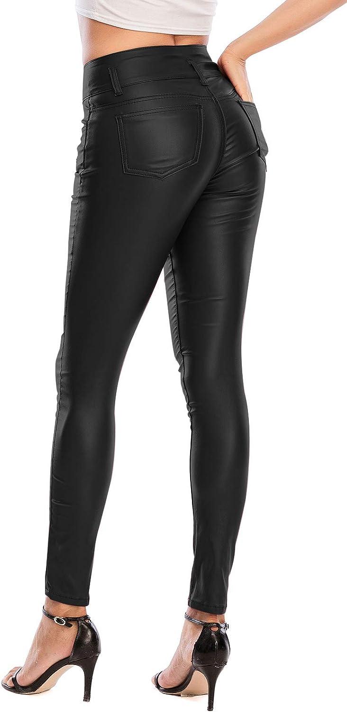 ECUPPER Women Faux Leather High Waist Stretch Push Up Pant Petite26/Regular29/Tall32
