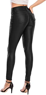 Women Faux Leather High Waist Stretch Push Up Pant...