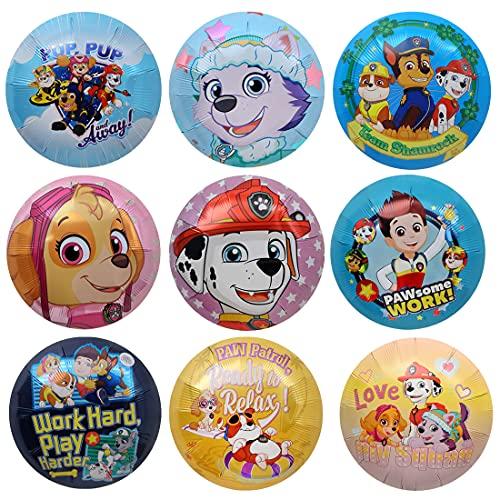 9 Stück Geburtstagsballons Folienballon wopin-Paw Patrol Dog Kindergeburtstagsdekoration Paw Patrol Geburtstagsballons Dekorationsset Alles Gute zum Geburtstag Dekorativer Ballon