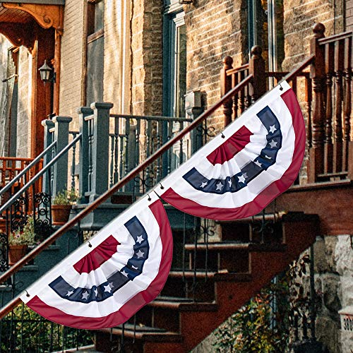 S-DEAL American Flag Bunting Patriotic Pleated Half Fan Flag USA Porch Red White and Blue Bunting for 4th of July, Veterans Day, Memorial Day, 1.5x3 Feet Set of 2