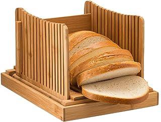 PUMYPOREITY Nature Trancheuse à pain en bambou pour pain maison, pliable et compacte Guide de planche à découper avec plat...