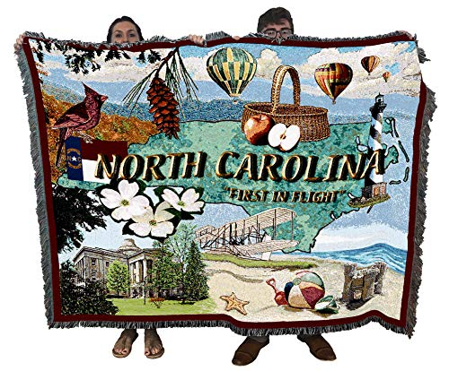 State of North Carolina - Cotton Woven Blanket Throw - Made in The USA (72x54)