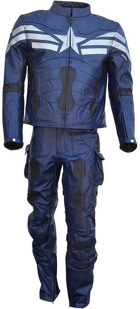 coolhides Men's Captain Real Leather Motorcycle Suit Blue
