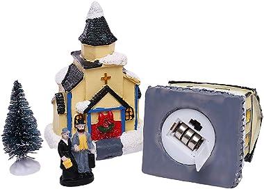 iClosam Christmas Scene Village Snow House Sets-12Pcs Christmas Ornaments LED Light Up Battery Operate Lovely Christmas Table