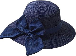 Plus Nao(プラスナオ) 帽子 ハット 麦わら 麦わら帽子 リボン ビッグリボン 日焼け防止 日除け 日焼け予防 日よけ 外出 お出かけ 無地 可愛 B ネイビー