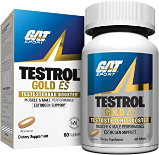GAT Sport Testrol Gold ES, Testosterone Booster with Estrogen Support, Builds Muscle, Increases Stamina, Enhances Performa...