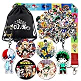 Anime My Hero Academia Bag Gift Set, Including Drawstring Bag Backpack, Cartoon Stickers, Pins, Keychains, Necklace Lanyard for Anime MHA Fans
