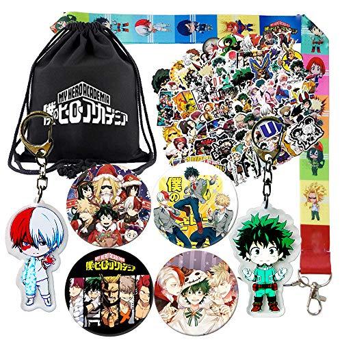 NANAFANS Anime My Hero Academia Bag Gift Set, Including Drawstring Bag Backpack, Cartoon Stickers, Pins, Keychains, Necklace Lanyard for Anime MHA Fans, Black, Medium