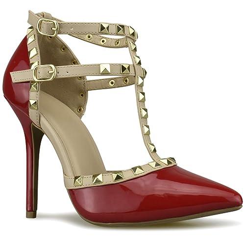004c152e4c86 Premier Standard Women s Pointed Toe Studded Strappy High Heel Leather Pumps  Stilettos Sandals