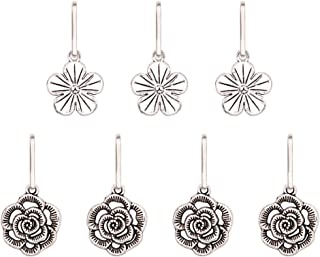Ascrafter Alloy Flower Zipper Pulls Charms for Jacket, Purses, Backpack, 7 Pack