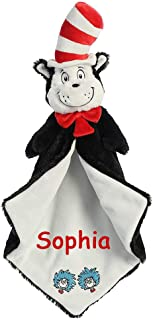 Aurora Personalized Dr. Seuss Cat in the Hat with Thing 1 and Thing 2 Luvster Plush Blanket for Baby Boy or Baby Girl - 20 Inches