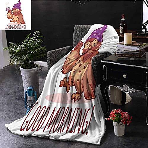 GGACEN Vier seizoenen licht en super zachte Woken Uil in de Nightcap met een kopje koffie Goede Ochtend Typografie Humor Warm Deken voor de Herfst Winter 70