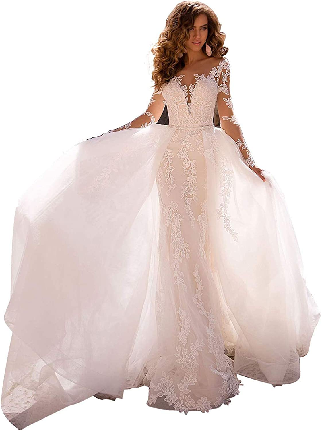 Melisa Long Sleeves Lace Mermaid Beach Wedding Dresses for Bride with Detachable Train Tulle Bridal Ball Gowns