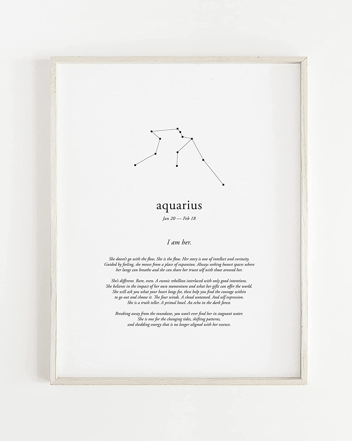 I AM HER Aquarius Zodiac Letterpress Print Art Wall Max 60% OFF Cotton At the price by